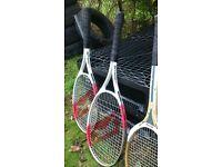 2 Slazenger and 1 dunlop rackets
