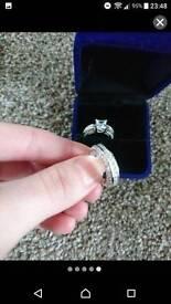 Size j, Princess cut 10k white gold filled white topaz Wedding ring & engagement ring set