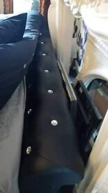 Beautyfull leather sleigh double bed diamonttes