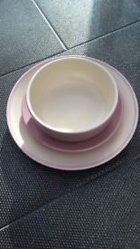 Pink next dinner set , 4 of each , unused from smoke free home