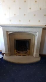 Fire surround and two doors.
