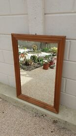 Pine framed rectangular glass mirror (S)