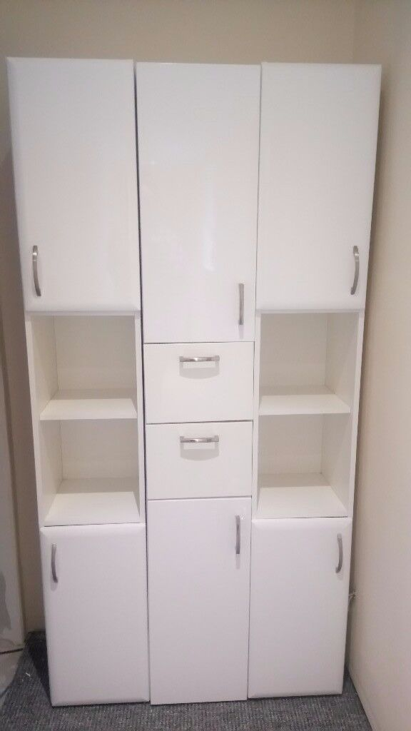 Bathroom Cabinets High Gloss White Quality Tall Standing