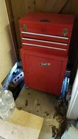 Red tool chest drawers car mechanic