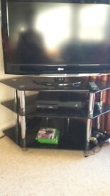 chrome and glass tv unit