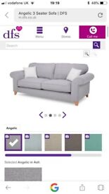 Grey DFS sofa, 12 months old, as new. Stain guarded. Pet and smoke free home. Collection only