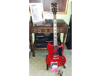 SG Type guitar, with upgraded Seymour Duncan pick ups and spare Wilkinson pick ups included