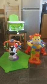 Baby booster chair and toys