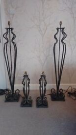 Set of 2 Floor Lamps and 2 Table Lamps. Black / Gold. Heavy Metal