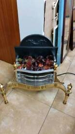 Electric Fire Freestanding vintage solid brass & metal