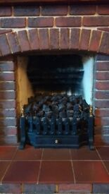 Brick fireplace and hearth