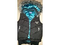 Pineapple black hooded body warmer size 12