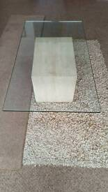 SOLID MARBLE & BEVELLED GLASS COFFEE TABLE