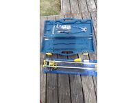 Power Master Tile Cutter in csrry case with squeegee for grouting and tile nippers,