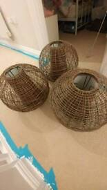 3×wicker/lobster pot style lampshades