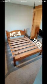 Quality Pinewood Double Size Bed Frame Only For Sale Good Condition Delivery Possible