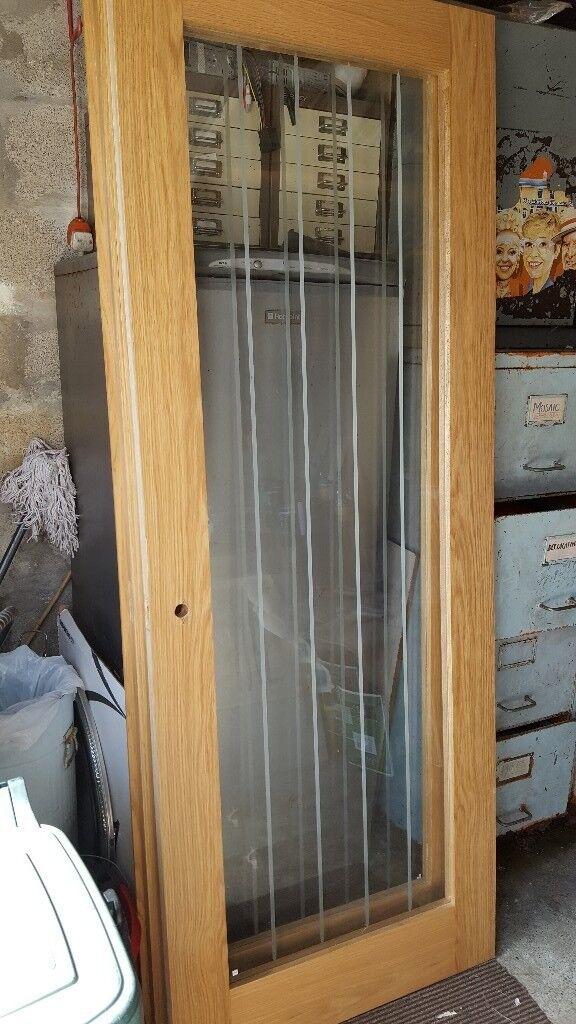 Pair Of Howdens Genoa Oak Glazed Doors Internal In