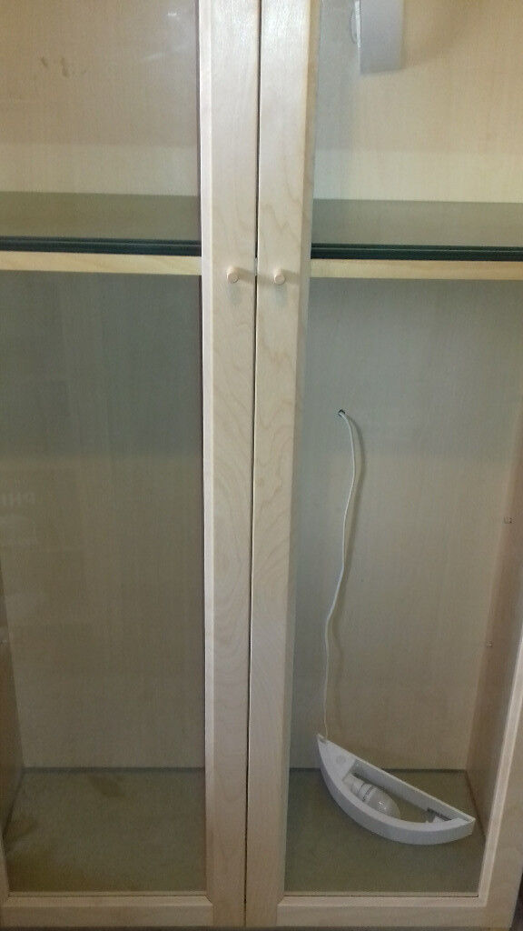 Ikea Billy Display Cabinet with glass shelves and lights