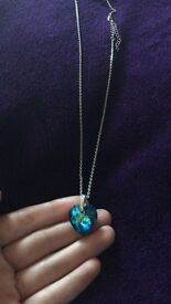 Blue/ green heart necklace with Swarovski crystal