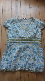 Blouse size 12 green and white cotton with butterflies on