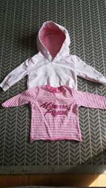 3- 6 Months - Mamas + Papas pink hoody + pink and white stripy T with sequins