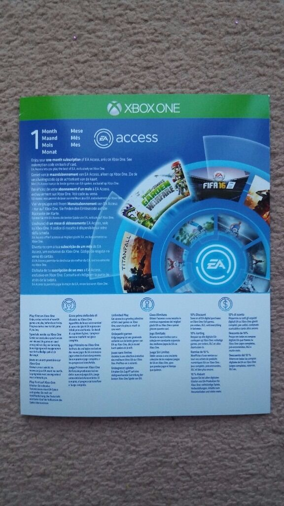 Xbox 1 EAin Romford, LondonGumtree - Unused 1 months worth of EA Access I can meet in Romford Town centre