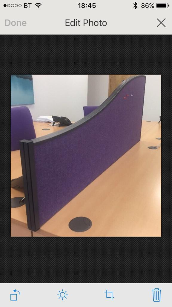 Wave Style Office Desk Dividers Partition Screens Purple Set Of 10