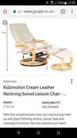 Cream leather massage chair
