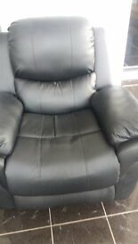 Black Leather Recliner Massage Chair
