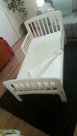 White junior bed with mattress