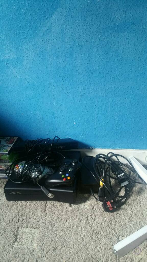 Xbox 360 with Kinect, Games, Controllers (All Wires Is Well) | in ...