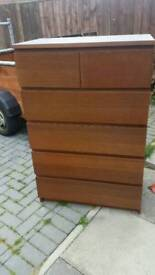 Brown ikea 6 drawer set