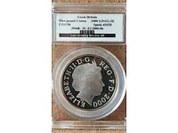 2000 MILLENNIUM SILVER AND GOLD FIVE POUND COIN SLABBED BY CGS AT 98