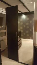 Black Split Door Glass Wardrobe Extras Soft Closing