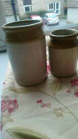 Stoneware Jars x2