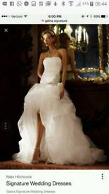Galina Signature white hi-lo wedding dress size 12