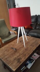 Lamp, large red lamp shade, white metal legs