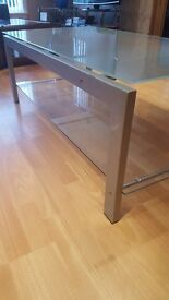 For Sale Glass Table 2 Tiers in good condition Tinted glass Clear glass and Aluminuim legs
