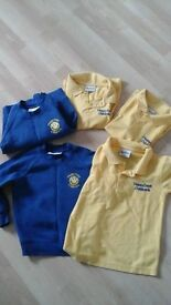 Happy days nursey uniform, 3 polos, 2 jumpers