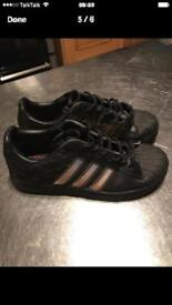 Girls black leather adidas superstars limited edition uk size 3 GC .
