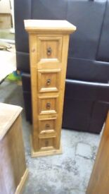 ORIGINAL MEXICAN PINE TALL DRAWS ,C.D TOWER IN VERY GOOD USED CONDITION FREE LOCAL DELIVERY