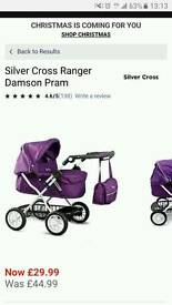 Silver cross purple dolls pram