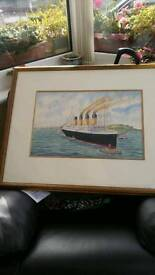 Water colour of the Titanic by George Cambell.