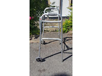 Stainless Steel Type Foling Zimmer Frame with Front Wheels Mobility Aid 180kg Max User Good Conditon