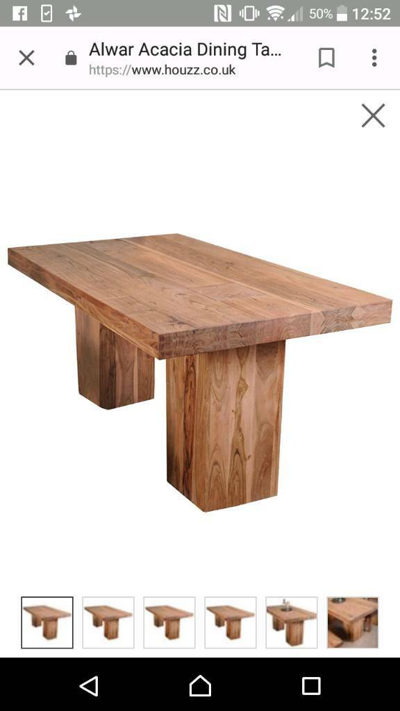 Rustic chunky wood dining table