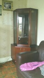 Dark wood corner display unit excellent condition
