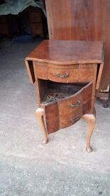 Unusual burr walnut bedside table - 1930's vintage