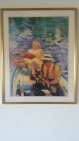 Framed Boy & Girl Rowing Boat Print