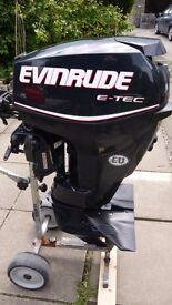 Evinrude etec 30hp outboard motor 2013 40hrs tiller manual short REDUCED