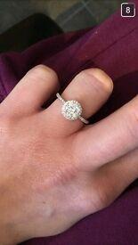 Round diamond cluster Engagement ring